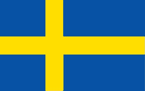 Sweden Flag ~ The flag of Sweden was officially adopted on June 22, 1906. The off-centered yellow cross (The Scandinavian Cross) is taken from the Danish flag. The yellow and blue colors are taken from the national coat of arms.