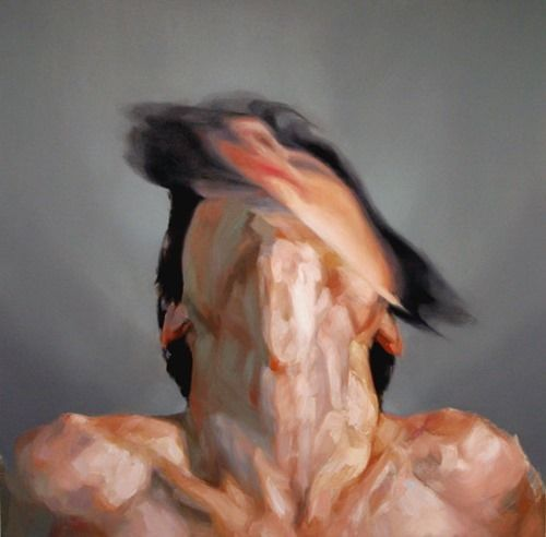 Painting by Kieran Brent #endmigraines #migraines, Emphasis is used to highlight the person's face, because it is blurred against the regular pallor of the persons skin. This gives a visualization of what a migraine would look like.