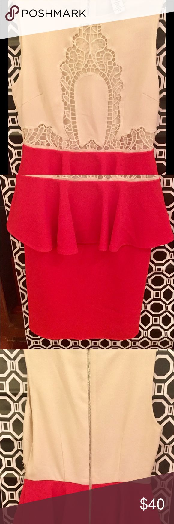 Bar III Peplum and Lace Dress   Red Color Block This dress is everything! Classy but cute! A fitted dress, falling above the knees with beautiful lace details on the bust of the dress. Bar III Dresses