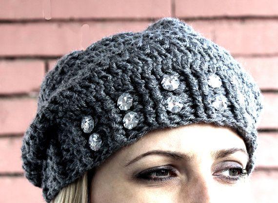 Uncinetto Slouchy Hat Beanie con perline strass, pronto da spedire, spedizione gratuita