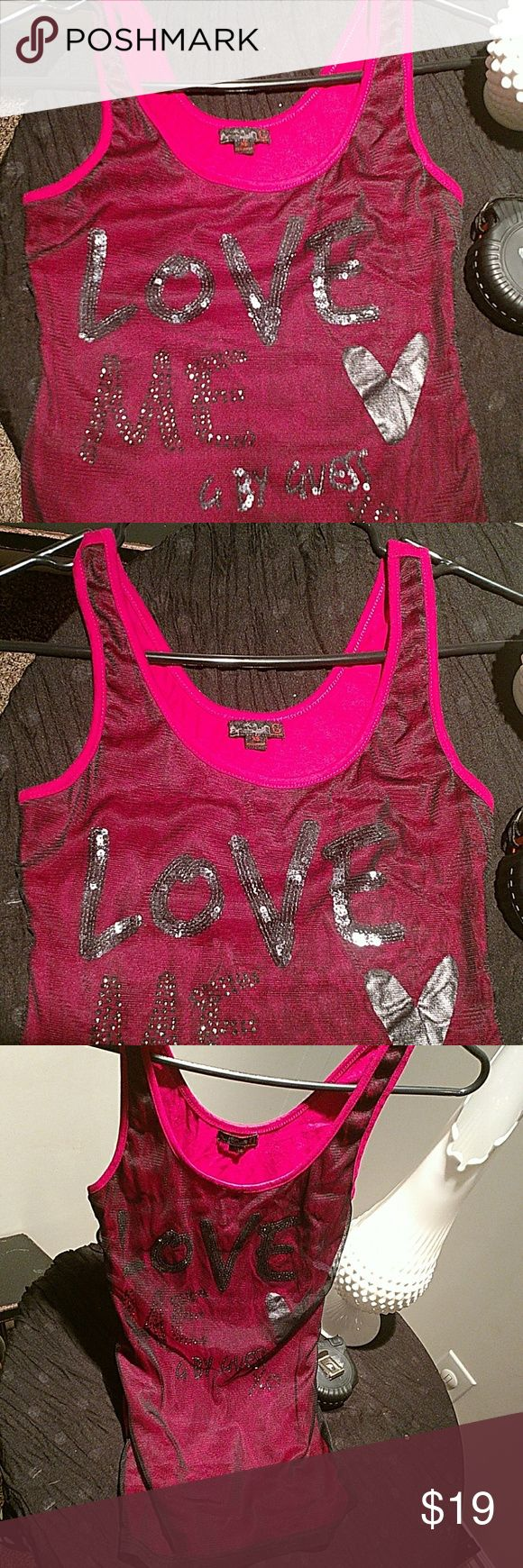 "Guess tank top Sequined ""love"", rhinestone ""me by guess xx"" black chiffon overlay. Guess Tops Tank Tops"