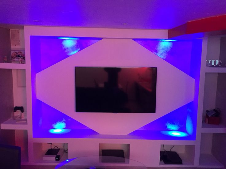 Meuble tv placo design led imed pinterest living for Meuble tv en placo