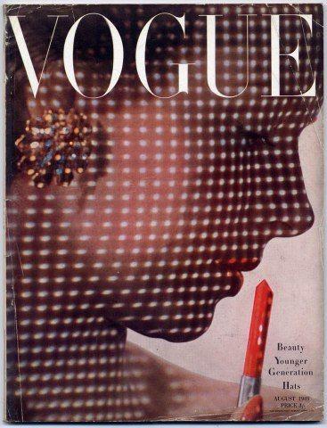 photo de mode US : Irving Penn, août 1949, Vogue, couverture de magazine, plumetis, profil, 1940s
