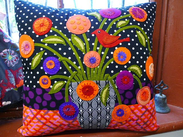 colorful appliqued pillow
