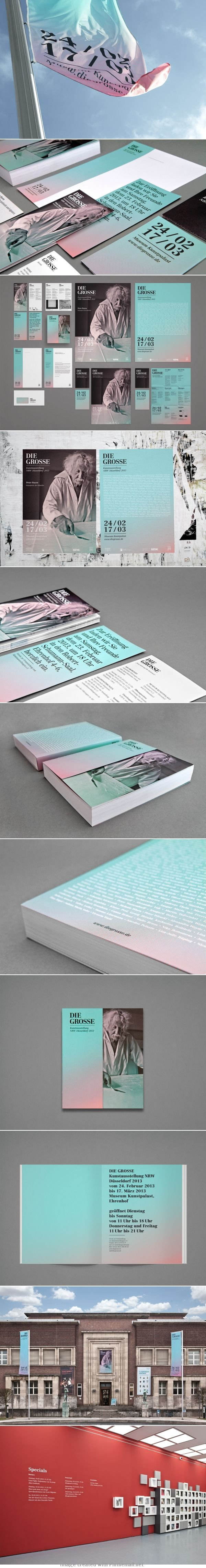 Visual identity and exhibition design. Lovely faded colors and black and white photo combination