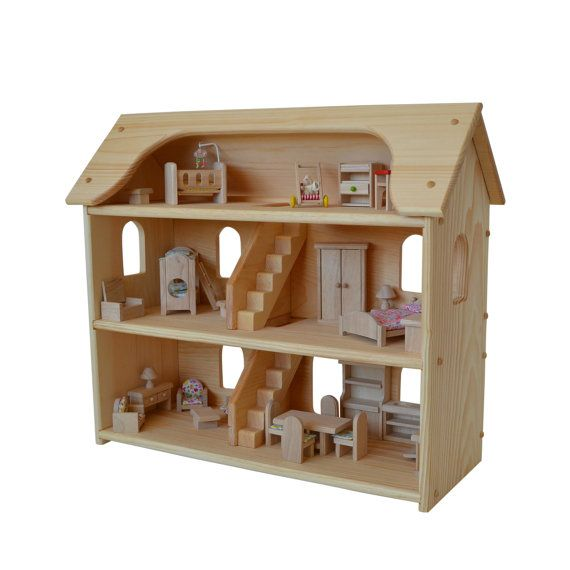 Handcrafted Natural Wooden Toy Dollhouse Set-Waldorf Dollhouse-Wooden Doll House- Montessori- Wooden Toys- Toy Dollhouse-
