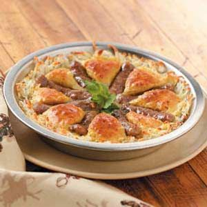 """Wagon Wheel Breakfast Pie Recipe -This cute eye-opener is loaded with flavor. """"The recipe originally came from a military magazine,"""" relates Sandra Hough of Hampton, Virginia. """"I've prepared it several times and it's quite popular, especially with kids."""""""