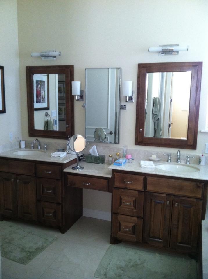 Split Vanities With A Knee Space Master Bathroom