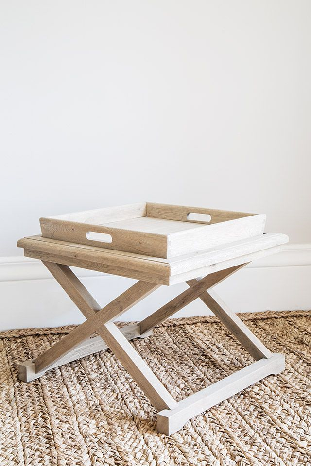 Weathered oak small coffee table or side table, with removable tray