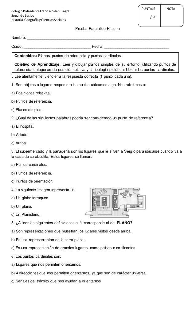 ColegioPolivalenteFranciscode Villagra  SegundoBásico  Historia,Geografíay CienciasSociales  Prueba Parcial de Historia  Nombr...