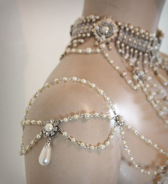 Shoulder Epaulettes Bridal Jewelry Accessories ,Pearls,Rhinestones,Efrat Davidsohn 1920 Inspiration Shoulders Necklace Wedding Jewelry,OOAK. $250.00, via Etsy.