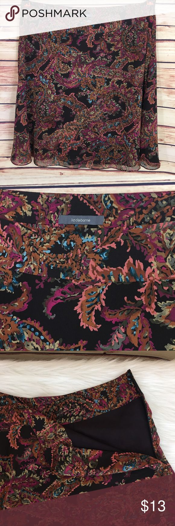 """✨ Liz Claiborne plus size skirt ✨Newly listed items are priced to move.. please help me clear out my actual closet 😉 Brand: Liz Claiborne Size: 22 Type: plus size skirt  Details: vibrant paisley like print, side zipper closure, lined  Waist measurement (laying flat): 23"""" Length: 28.5"""" Condition: preloved, excellent condition  ✨Build a bundle with all your likes and use the automatic bundle discount -or- make me a bundle offer✨ Liz Claiborne Skirts A-Line or Full"""