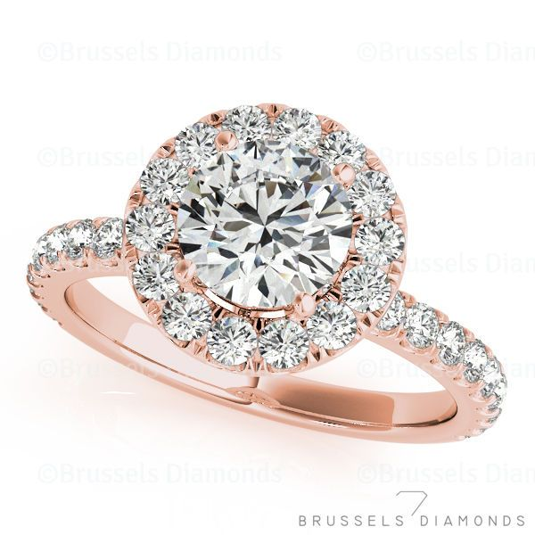 1 1/3 CT DIAMOND HALO ENGAGEMENT RING ROUND CUT SI2/H 14K ROSE GOLD NATURAL | eBay