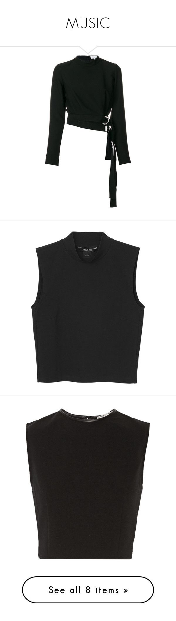 """""""MUSIC"""" by hoangkimsa ❤ liked on Polyvore featuring tops, black, roll neck top, belted top, carven top, shirts, crop tops, tank tops, black magic and shirt crop top"""