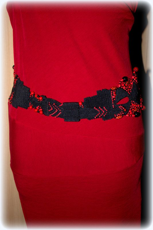 #macrame #belt #with #red #black #beads <3
