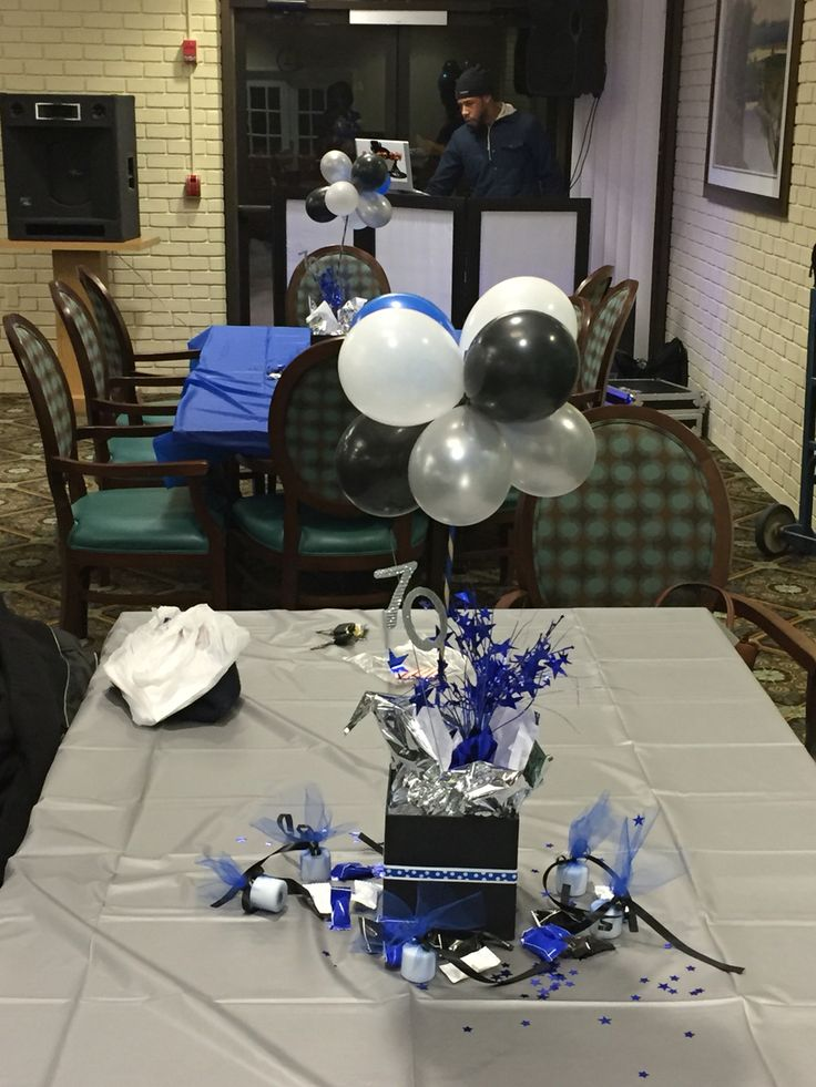 Th birthday centerpieces blue black white and silver