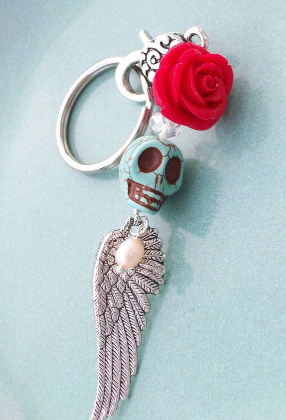 Day of the Dead Sugar Skull Angel Pendant by VivaGailBeads on Etsy, $14.00