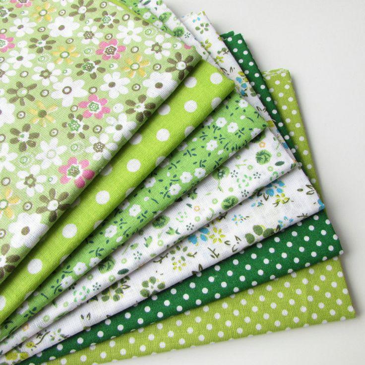 7 pcs vert 100% coton Quilting tissu pour le bricolage coudre Patchwork literie pour enfants sacs Tilda Baby Doll tissu Textiles tissu 50 * 50 cm(China (Mainland))