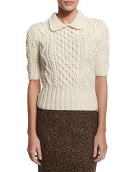 Michael Kors | White Aran Cable-knit Collared Sweater | Lyst