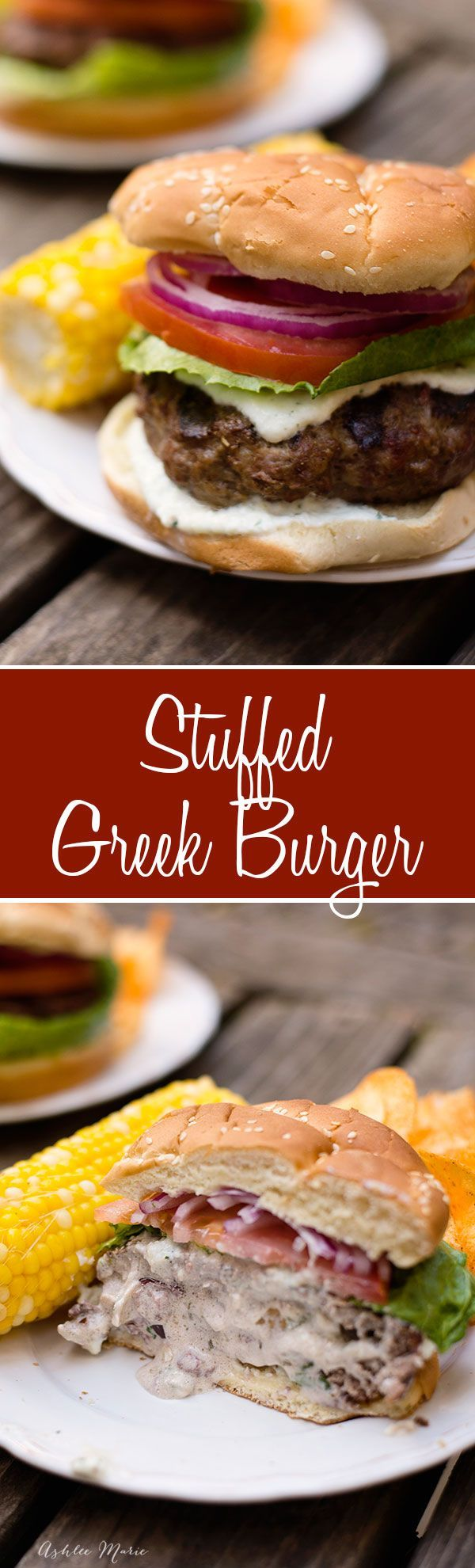 this stuffed greek burger is made with lamb, beef and pork and filled with goat cheese, feta grilled onions and greek olives.  Top with tzatziki sauce, tomatoes and red onions for a great greek flavor.