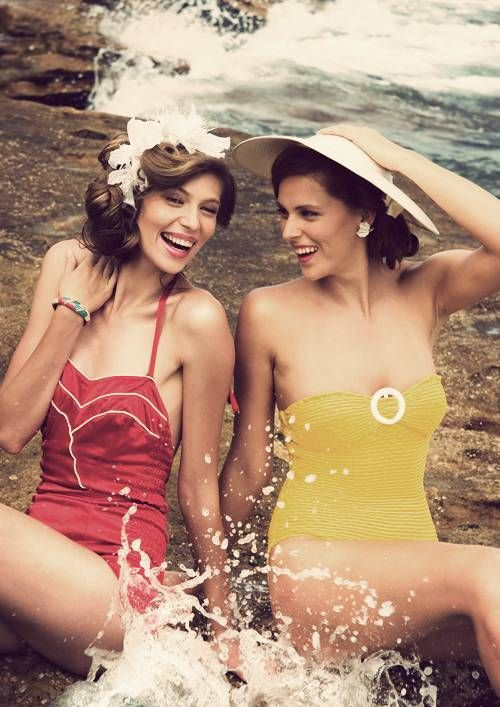 One-piece old fashion swimsuits are the best.