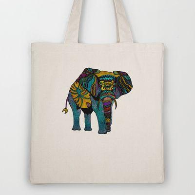 Les tags les plus populaires pour cette image incluent : abstract, totebag, art, elephant et ethnic