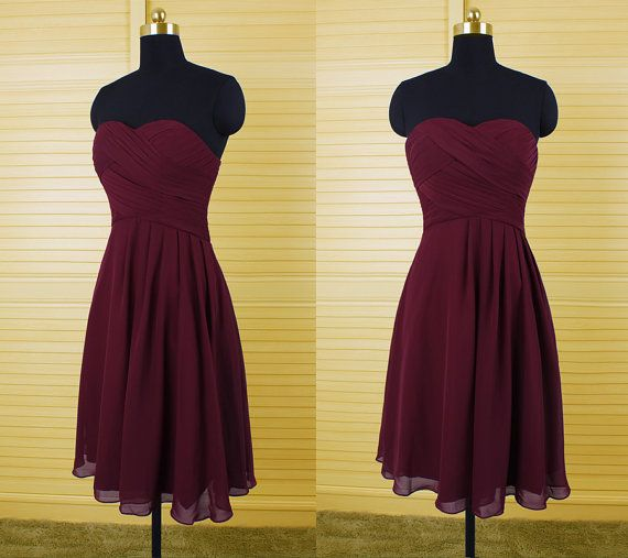 Burgundy Bridesmaid Dresses,Knee Length Bridesmaid Gown,Summer Bridesmaid Gowns