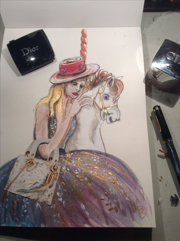 Fashion illustration for Dior with Dior beauty products