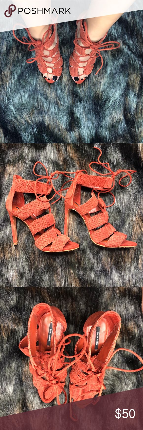 Zara burnt orange strappy heels Condition: perfect! Never been worn and very comfortable  Size: 36  No box Zara Shoes Heels