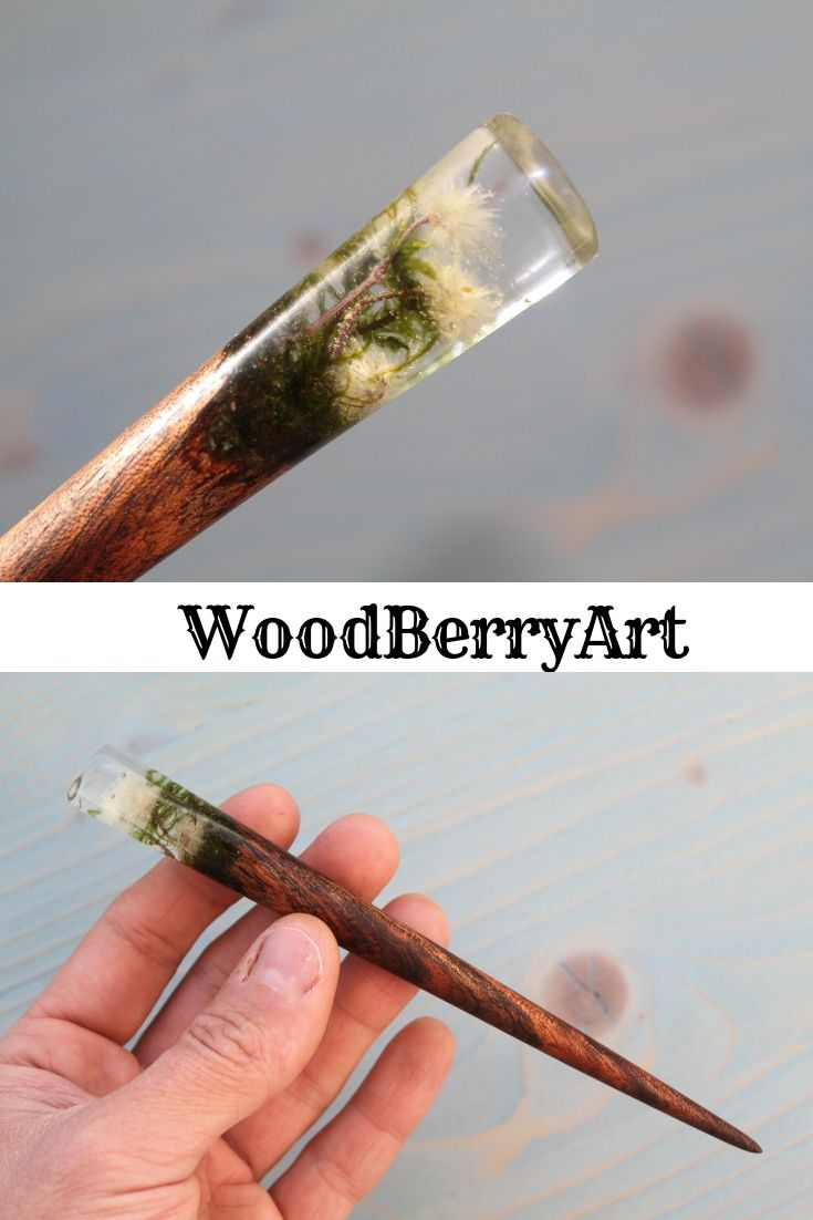 126b1fe11 Terrarium hair stick from exotic wood and crystal resin by WoodBerryArt.  #long_hair_gift#wooden_hair_jewelry