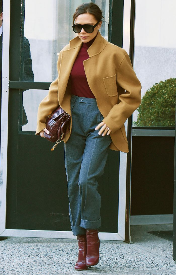 Celebrity winter outfits  Victoria Beckham wearing a short camel coat 86f4a6e2f
