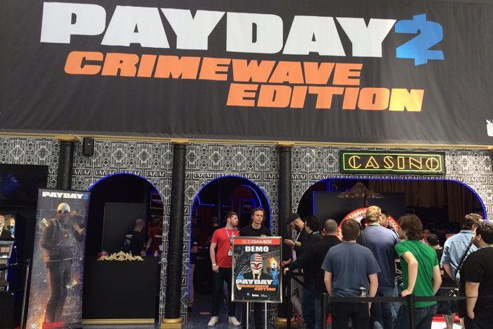 Guests queued up at a mock casino entrance promoting the game Payday 2.  Photo: Alesandra Dubin/BizBash