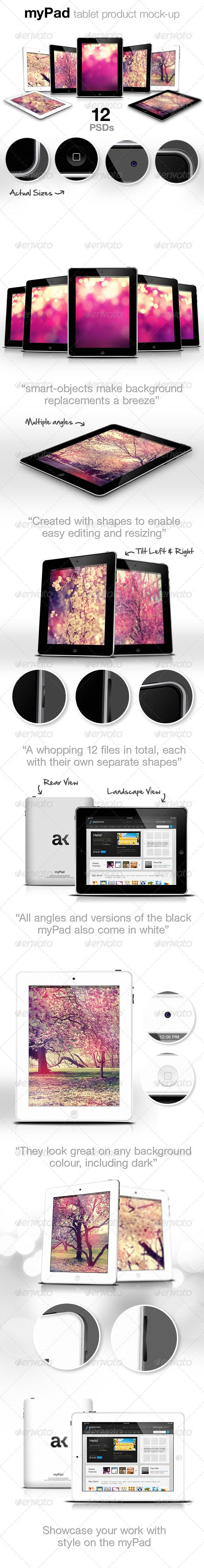 myPad: Web/App Showcase Tablet Pad Mockup Download here: https://graphicriver.net/item/mypad-webapp-showcase-tablet-pad-mockup/2201391?ref=KlitVogli