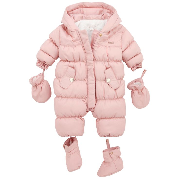 Light pink padded jumpsuit made of waterproof polyester. White synthetic fur lining. Warm quilted padding. Hood. Zip under popper fastening. Side pockets. Fur-lined mittens and bootees with press stud buttons. - $ 146.00