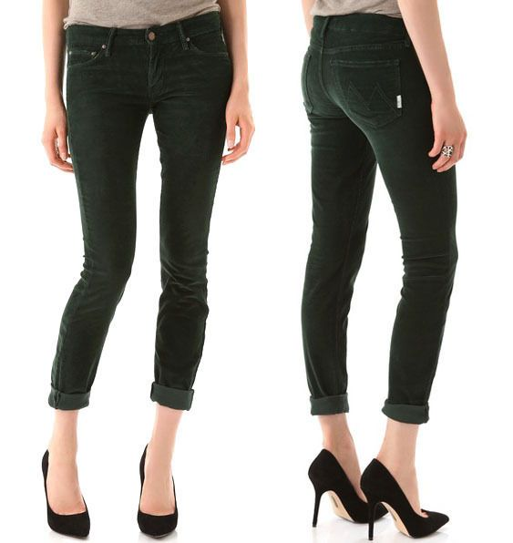 Mother The Looker Little Bit Country Corduroy Pine Green Skinny Pants 30  $218