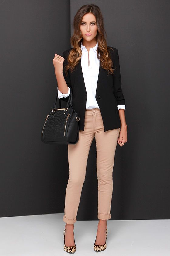 Strictly Business Ivory Long Sleeve Button-Up Top