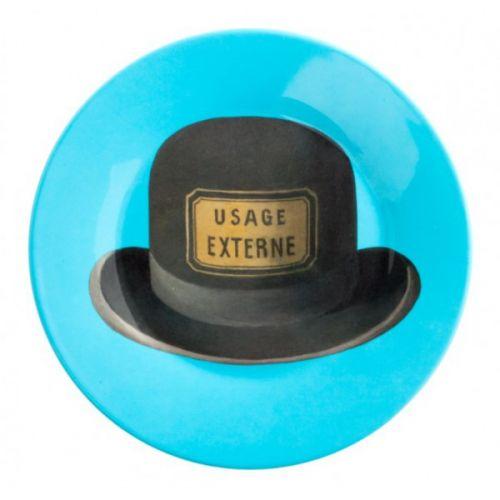 #Assiette de table ronde illustrée #chapeau et inspirée de #Magritte et son oeuvre Le Bouchon d'Epouvante Prix 10,90 euros TTC