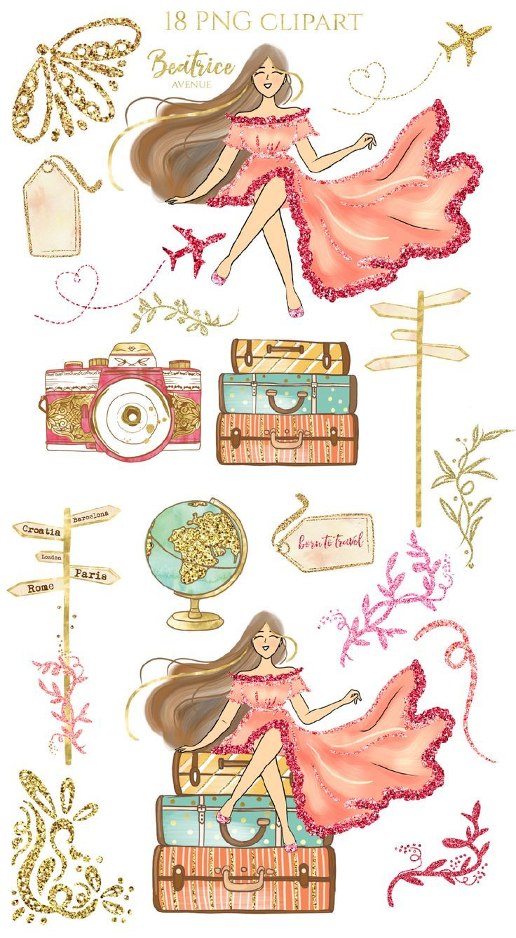 This kit includes 23 hand drawn fashion cliparts - Summer clipart Watercolor clipart beach clipart tropical clipart fashion clipart fashion girl clipart planner clipart pool clipart Gold travel clipart  YOU WILL RECEIVE: 23 high resolution PNG images with