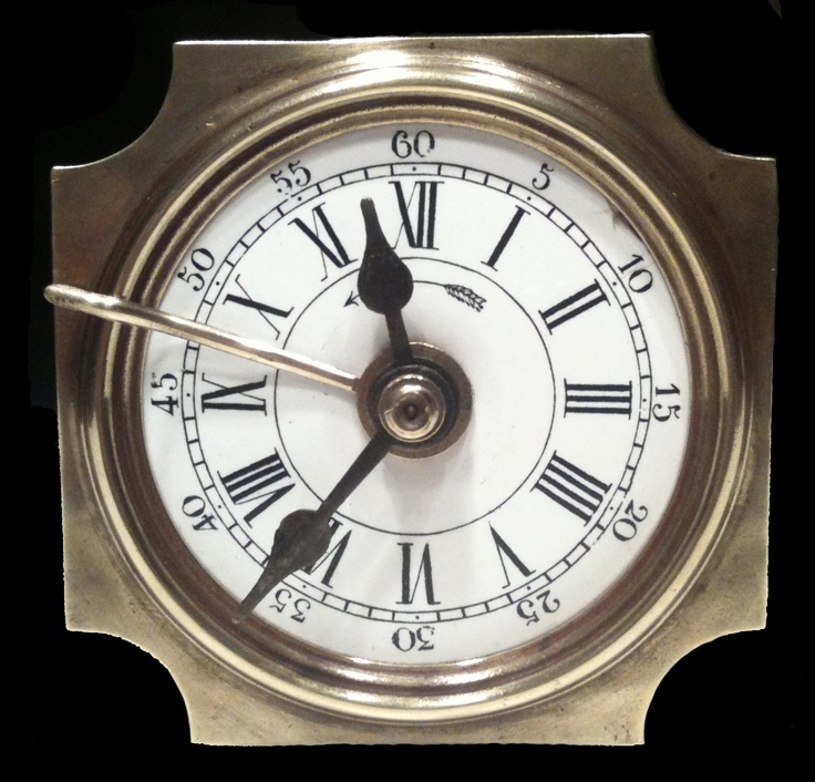 Unknown maker, French  c1900  A superb transitional 36 hour table alarm clock with porcelain dial and unusual internal pendulum.   Restored condition with surprisingly effective alarm.  Height 4in (10cm)   $325