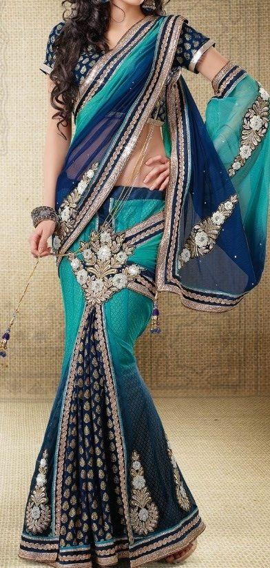 Teal & Blue Sari