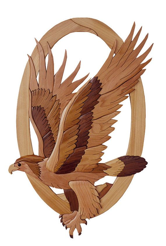 Gielish Wood Sculpture - Intarsia Wood Art - Eagle
