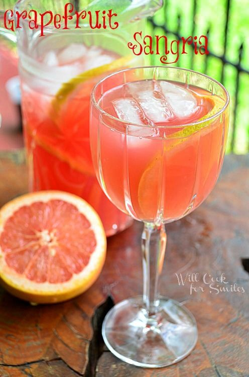 GRAPEFRUIT SANGRIA: 1 large grapefruit 1/3 cup of white granulate sugar + 2 tbs hot water (to make simple syrup) 5 oz light rum 3 oz Triple sec 20 oz of White Zinfandel wine Grapefruit juice to fill the pitcher (about 30 oz)