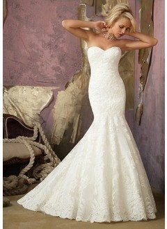 Trumpet/Mermaid Strapless Sweetheart Court Train Satin Lace Wedding Dress - Alternative Measures -