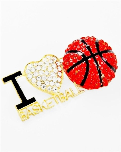 Amazon.com: I Love Basketball Pin Brooch Z2 Clear Orange Crystals Big Team Sports Fashion Jewlery: Jewelry $19.88 #basketballring