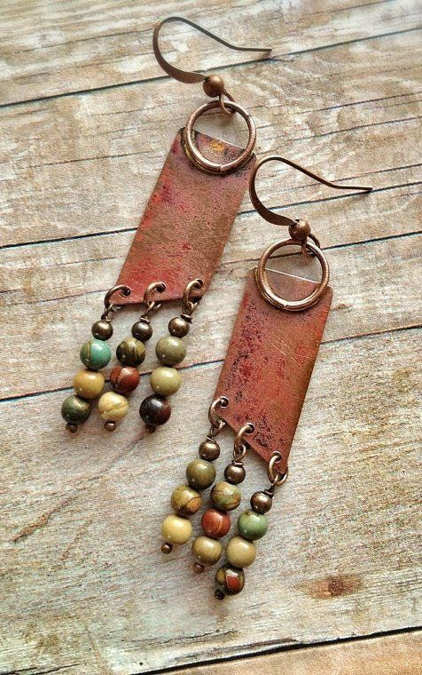Geometric Boho Copper Earrings with Natural Stone Dangles #JewelryDesign #FashionJewelrytips