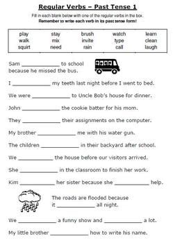ESL GRAMMAR UNIT Using Regular and Irregular verbs printable worksheets