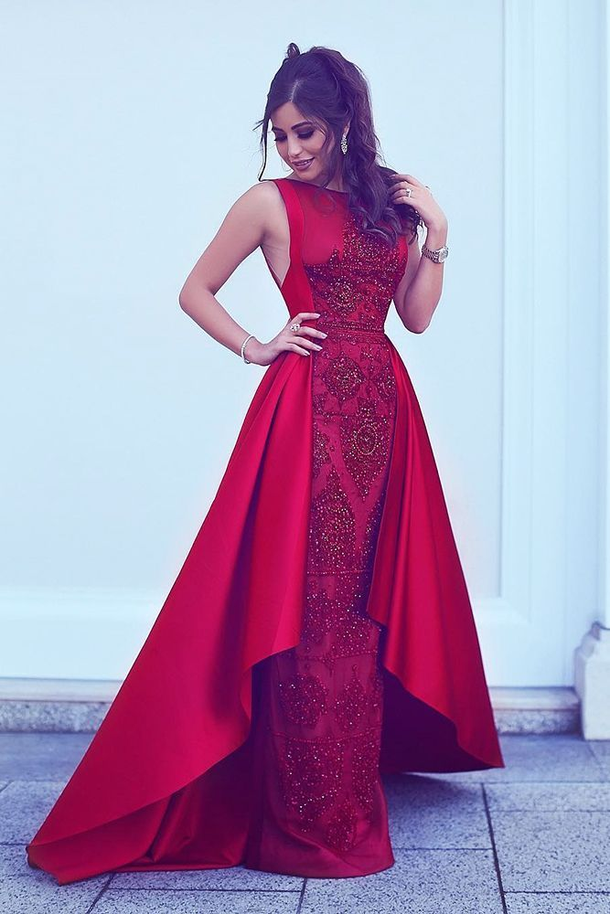 A-Line Round Neck Asymmetry Red Stretch Satin Prom Dress with Lace Beading Party  Dresses 717e42aa363d