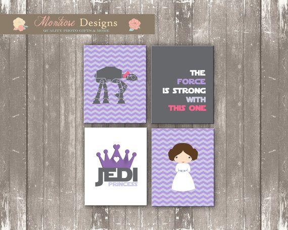 Princess Leia Nursery Art Set Purple Chevron by montrosedesigns, $10.00