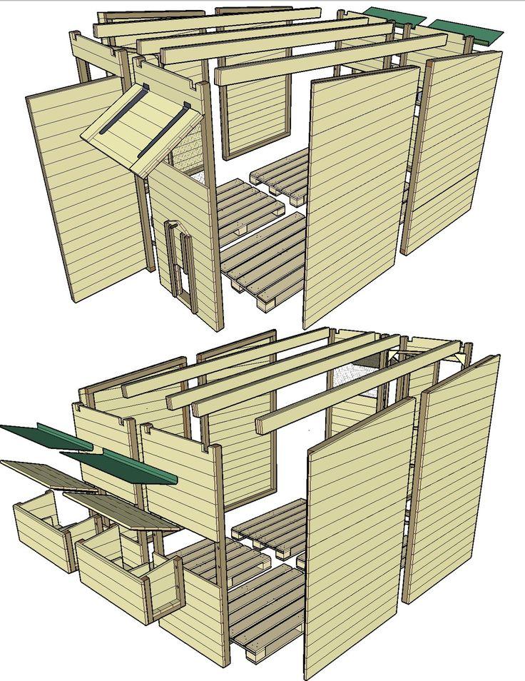 22 best construire un poulailler en palettes images on. Black Bedroom Furniture Sets. Home Design Ideas