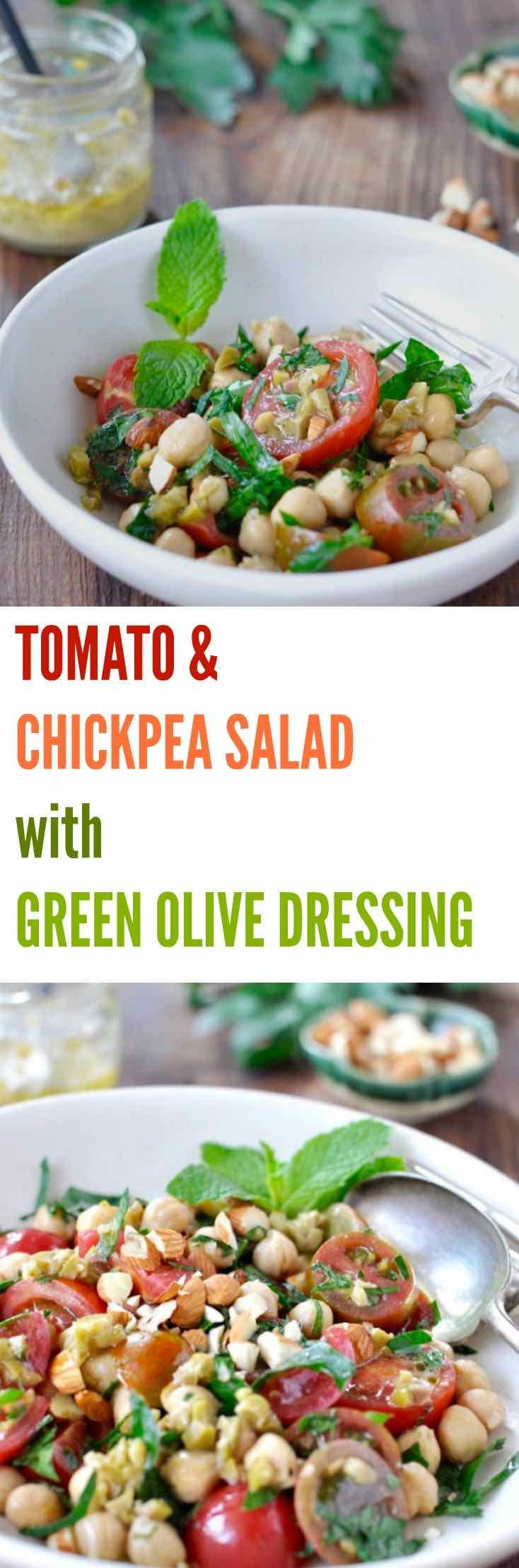 This simple TOMATO & CHICKPEA SALAD WITH GREEN OLIVE DRESSING is ...